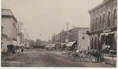 Marengo, Illinois RPPC State Street View IL 1909 Storefronts Train Passing By