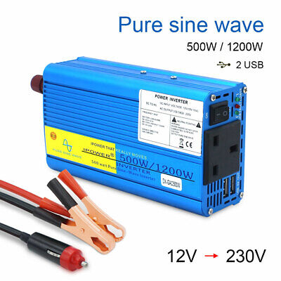 500w 1200w pure sine wave power converter inverter DC 12v to AC 230v car camping