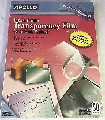 Apollo Film Inkjet Transparency for Hewlett-Packard 8.5x11 (50) Sheets, CG7031S