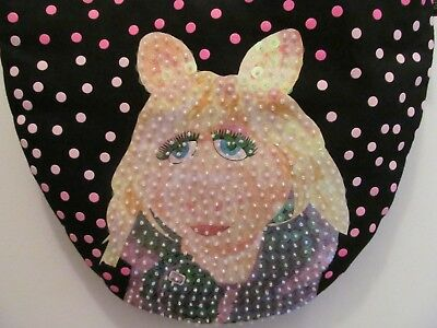 New Muppets Miss Piggy Purse Sequins Polka Dots Black Pink NWOT by FAB Starpoint