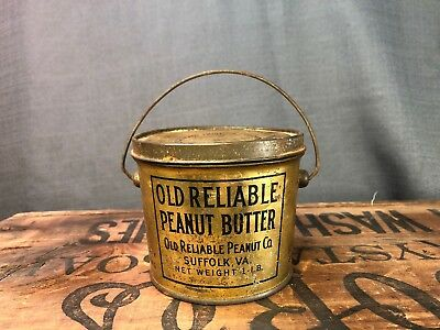 Peanut Butter Tin Old Reliable handle lid Suffolk Virginia Vtg 1LB Advertising