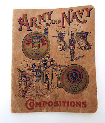 1912 COMPOSITION NOTEBOOK Army Navy Vintage Cursive Writing Short Stories
