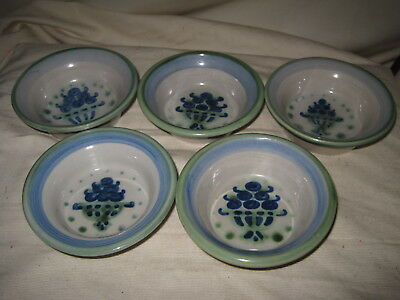 "5 MA Hadley Small 4.5"" Fruit Berry Bowls Blueberry Basket Bouquet Stoneware"