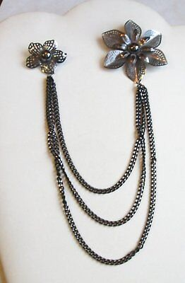 VTG Double Brooch Breast Pin Flower Victorian Antiqued Silver Tone Chain Link 45