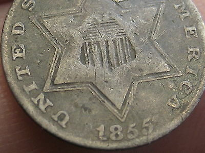 1855 Three 3 Cent Silver, Rare Key Date, RPD, Repunched Date