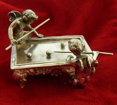 1920's ANTIQUE 800 SILVER TWO CHERUBS PLAYING POOL VERY ORNATE  PIECE