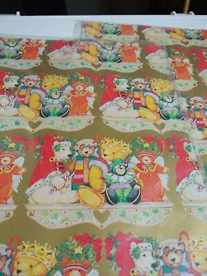 vintage christmas wrapping paper nip lot of 2 package with 2 sheets each 20 x30 - Vintage Christmas Wrapping Paper