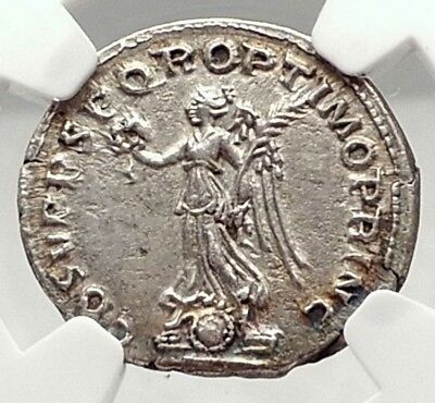 TRAJAN 105AD Rome Authentic Genuine Ancient Silver Roman Coin Victory NGC i72903
