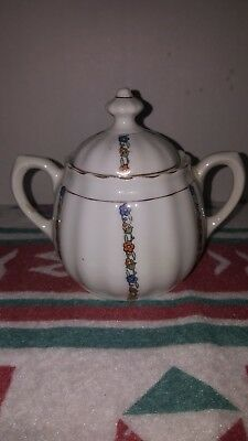 Vintage Bavarian Sugar Bowl With Lid  Floral