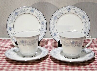 LOT of Two TRIOS Contemporary by Noritake Blue Hill 2482 (cups, saucers, plates)