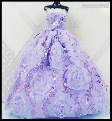 New Barbie doll clothes outfit princess wedding gown party dress purple sequins.