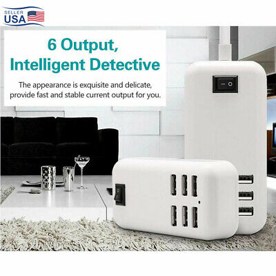 Travel 30W 6-Port USB Wall Charger Quick Charge Hub Station For iPhone Samsung