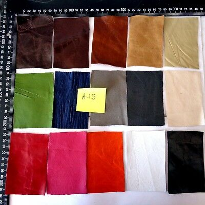 Brand New 15 piece GENUINE LEATHER SCRAPS, OFF CUTS for CRAFTS & HOBBIES-Lot A15