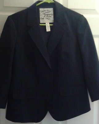Abercrombie & and Fitch L Large Dress Jacket Stripped Dark Blue Button Up