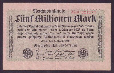 1923 Germany Weimar 5 Million Mark (small type) VF P.105