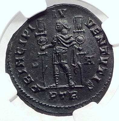 CONSTANTINE I the GREAT Authentic Ancient 307AD Roman Coin NGC Ch AU i72922