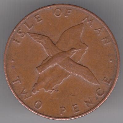 Isle of Man 2p Pence 1978 Bronze Coin - Manx Shearwater over Island Map
