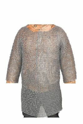 Armour Chain mail 8 mm Half Sleeve L Size Round Ring Riveted Medieval Shirt