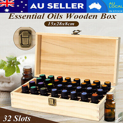 32 Slots Wooden Essential Oil Aromatherapy Bottle Storage Box Case Container AU