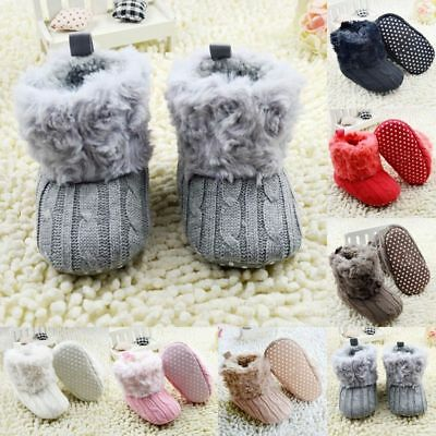 UK 0-18M Baby Kids Girl Winter Warm Fleece Knit Snow Boots Booties Crib Shoes