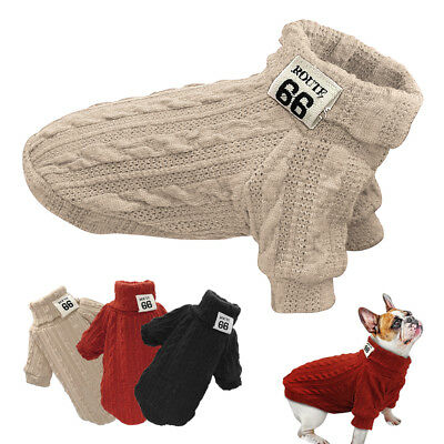 Dog Knitted Jumper Knitwear Chihuahua Clothes Warm Pet Puppy Polo Neck Sweaters