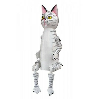 Hand Painted Cat Grey White Wooden Carved Ornament Freestanding Vintage Garden