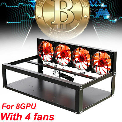 8 GPU Open Air Mining Miner Frame Rig Case For ETH BTC Ethereum Bitcoin + 4 Fans