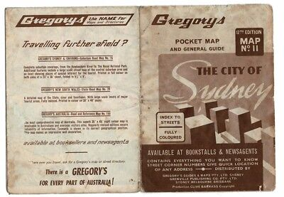 GREGORYS POCKET MAP OF SYDNEY No.11  12th. EDITION POST 1961