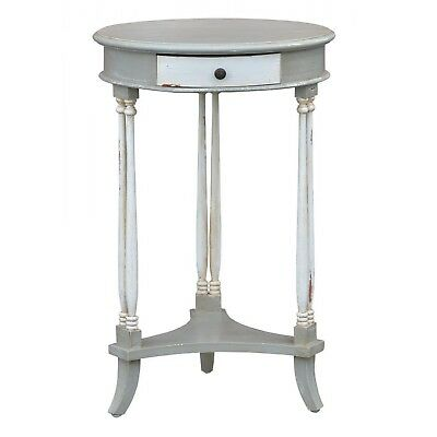 Decorative Antique Style White and Grey Wooden Round Side Table with One Drawer