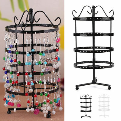Fashion 144 Holes Rotating Earring Ring Display Jewelry Rack Holder Metal Stands