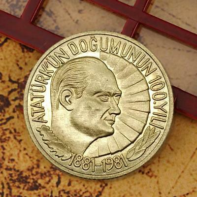 1881-1981 100th anniversary Turkey Coin Old Commemorative Coins Gold Color