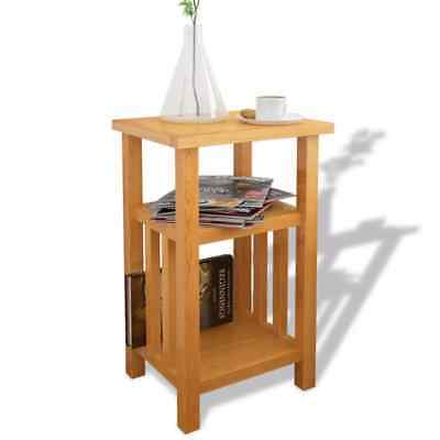 End Table Bedside Side Stand Nightstand with Magazine Shelf Solid Oak Brown