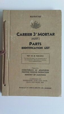"Ww2 Australia Armoured Bren 3"" Mortar Carrier Parts List Manual Ford 1942 Rare"