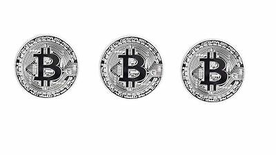 TS Trade Silver Plated Bitcoin Coin Collectible  Coin Art Collection Physical