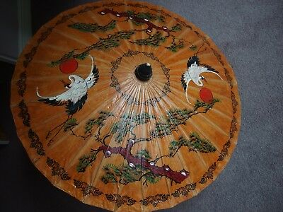 antique hand painted parasol Japanese Chinese