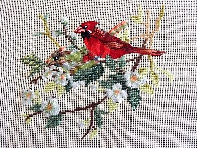 Vintage Or Antique Needlepoint And Petit Point Canvas Pr Cardinals To Complete