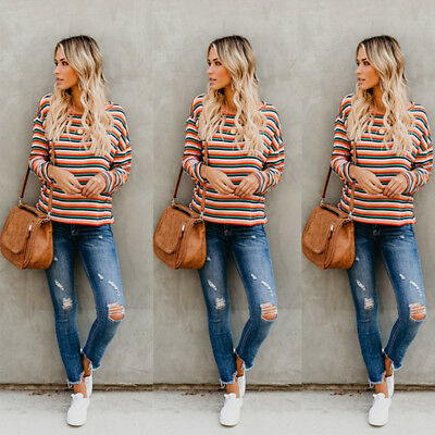Women Lady Long Sleeve Loose Rainbow Stripe Pullover Blouse Casual Tops T-shirt