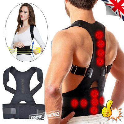 Adjustable Magnetic Posture Back Corrector Lumbar Shoulder Support Brace Belt UK