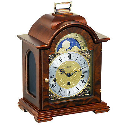 Hermle Debden Mechanical Mantel Clock in Walnut - Westminster Chime & Moon Phase