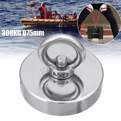 300kg D75mm Neodymium Fishing Salvage Magnet Detecting Metal Treasure Hunting