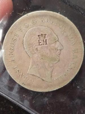 1841 Hannover Counterstamp EH with Crown Germany 1 Thaler