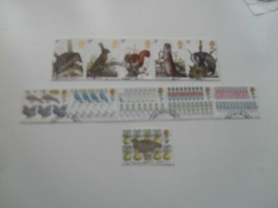 Gb Qe11 1977 Wild Life & Christmas Decimal Stamp Sets In Unbroken Strips