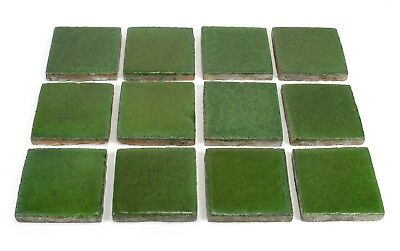 Grueby Pottery 12 tiles matte green arts & crafts good 4 Gustav Stickley table