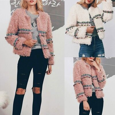 UK Womens Winter Pink Faux Fur Coat Overcoat Ladies Cardigan Jacket Tops Outwear