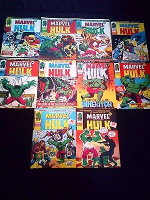 The Mighty World of Marvel Starring The Incredible Hulk Vintage Joblot x 10 1975