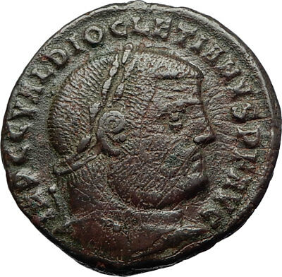 DIOCLETIAN Authentic Ancient 296AD Follis Genuine Roman Coin w GENIUS i71126