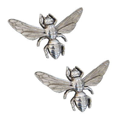Pair of Small Antique Silver Bumble Bee Decorative Ornamental Clips 7.5x10x2cm