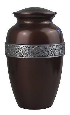 Large Aluminium Brown & Silver Urn for Adult Ashes Cremains Funeral Memorial