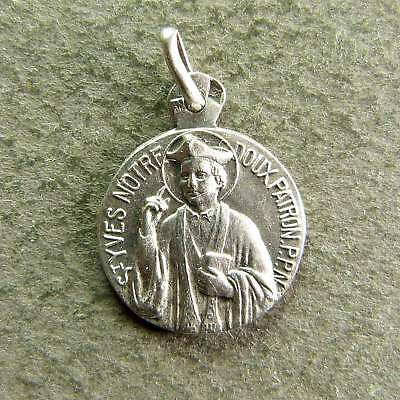 af72a062e39 French Antique Religious Sterling Silver Pendant Saint Yves Hallmarked