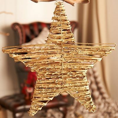 Job Lot Wholesale 24 x Gold Sparkly Twig Hanging Stars Xmas Decoration 40cm
